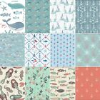 100% Cotton Fabric Nautical themed Material Mermaid Anchors Boats Ocean Whales