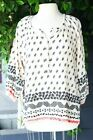 Johnny Was Pete & Greta Leaf Printed 3/4 Sleeve Blouse Boho Chic P10820 NEW