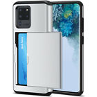 For Samsung Galaxy Note 20 S20 Ultra S10 S9 Slide Armor Wallet Card Slots Holder
