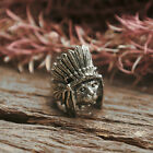 cat feather headdress ring western apache sterling silver Biker boho animal pet