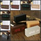 Modern Mute Wooden Clock Wood Digital LED Thermometer B Sound Control Alarm