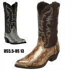 Mens Square Toe Carved Floral Low Heel Chunky Ankle Boots Cowboy Shoes Chelsea