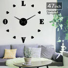 Love Wedding Giant Big DIY Large Frameless Wall Clock with Mirror Effect Gift