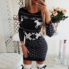 Women Christmas Long Sleeve Bodycon Dress Ladies Xmas Sweater Party Mini Dress