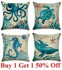 Ocean Coastal Throw Pillow Cover Teal Blue Linen Decorative Cushion Case 18x18""