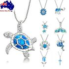 Cute Sea Animal Turtle Pendant Necklace Silver Blue Fire Opal Jewelry Gift Chain