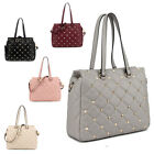 Ladies LYDC Studded Shoulder Bag Quilted Handbag Girls WAG Tote Bag GL4973