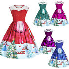 Womens Christmas Xmas Vintage Rockabilly Swing Skater Dress Retro Party Dresses