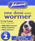 JOHNSONS 1 DOSE EASY WORMER DOG & CAT TAPEWORM & ROUNDWORM WORMING TABLETS