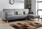 'L Shaped Corner Sofa Bed Modern 3 4 Seater Or Single Fabric Couch Grey