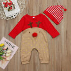Newborn Kid Baby Cartoon Christmas Boys Girls Clothes Jumpsuit Hat Set Outfits
