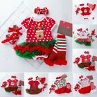 4PCS Newborn Baby Infant Girls Christmas Romper Headband Tutu Dress Outfit New