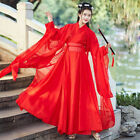 Red Women Imrpoved Hanfu Clothes Ancient Chinese Style Fairy Cosplay Costume