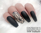 Full Set of 20 Press On Nails Nude Black Geometric Short Long Coffin Stiletto