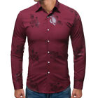 Floral Luxury New Long Sleeve Fashion Dress Shirts Casual Business Mens T Shirt