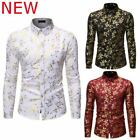 Top Shirt Stylish Floral Dress Shirts Slim Fit Long Sleeve Mens Luxury Casual