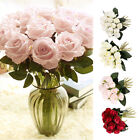 18 Heads Silk Rose Artificial Flowers Fake Bouquet Wedding Home Party Decor M3