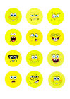 SpongeBob Face Emoji Cupcake / Cakesicle Toppers | Edible Print Icing / Wafer