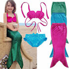Girls Mermaid Tail Swimmable Bikini Set Swimwear Swimsuit Costume Christmas Gift