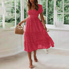 Summer Women's Vintage A-Line Maxi Dress Short Sleeve Ruffle Pleated Sundress