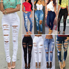 Women Destroyed Ripped Skinny Jeans Pants High Waist Stretch Denim Long Trousers