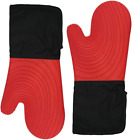 Silicone Oven Mitts - Long Kitchen Mits Heat Resistant 500°F Cooking Mittens Po