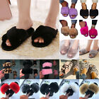 Womens Plush Slippers Shoes Furry Flat Sandals Ladies Leopard Comfy Sliders Size