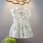Infant Baby Kid Girl Summer Sleeveless Ribbons Bow Floral Dress Princess Dress