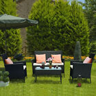 Rattan Garden Furniture Set 4 Pcs Chairs Sofa Table Outdoor Patio Set 3 Colors