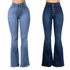 Women High Waisted Denim Buttoned Bell Bottom Pants Wide Leg Jeans Trousers New