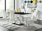 GIOVANI Black White High Gloss Glass Dining Table Set & 6 Faux Leather Chairs