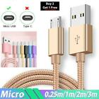 2m 3m Braided Micro Usb Data Sync Charger Cable Lead For Samsung Android Phones