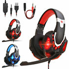 Gaming Headset Mic LED Stereo Bass Surround Headphone For PS5/PS4/Xbox One/PC