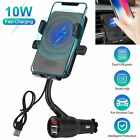 Car Cigarette Lighter Dual USB Wireless Fast Charger Mount Holder for Cell Phone
