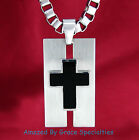Mens DOG TAG Style Black Inlay CROSS in Stainless Steel with choice of Chains