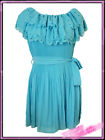 Ladies Womens Plus Size Turquoise Long  Pleated Top New UK 16 Blue New