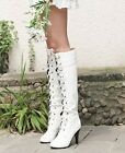 Womens Lace Up Punk Heels Tall Knee High Boots White