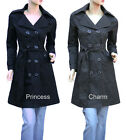New Size 4 6 8 10 12 14 16 Black Grey Trench Coat Jacket Women's