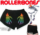 ROLLERBONES Booty Shorts Roller Derby Black/White with  Rainbow Hands XS-XL