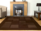 LARGE & EXTRA LARGE THICK CHOCOLATE BROWN BEIGE CONTEMPORARY RUG (SQUARES BLOCKS