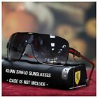 NEW MENS KHAN SHIELD AVIATOR SUNGLASSES WRAP AROUND BIKER SPORTS SHADES BLACK
