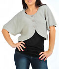 Womens Short Bolero Buttoned Shrug Cardigan Cape in Black Grey Teal Ladies New