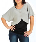Womens Bolero Shrug Cardigan Cape Black Grey Teal Ladies New UK S M L 8-14