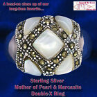 Solid Sterling Silver Mother of Pearl Inlays and Marcasite XX Ring sz-8-9-10