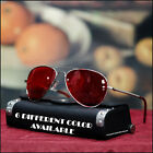 NEW MENS AVIATOR SUNGLASSES PILOT COPS VINTAGE SILVER SHADES OCEAN COLOR LENS