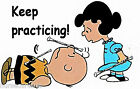"BATON TWIRER  WHITE T; ""kEEP PRACTICING"" CARTOON CHARACTERS WITH BATONS,ALL SIZE"