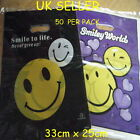 FASHION SMILEY FACES BLACK OR PURPLE CARRIER BAGS 50+PACK 33cm x 25cm SHOPS GIFT