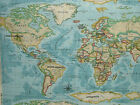 Prestigious Atlas World Map Azure Designer Cotton Curtain Upholstery Fabric