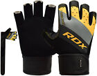 RDX Weight Lifting Gym Gloves Leather Wrist Strap Supports BodyBuilding Fitness
