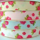 3m length - ROSES -  GROSGRAIN FABRIC RIBBON